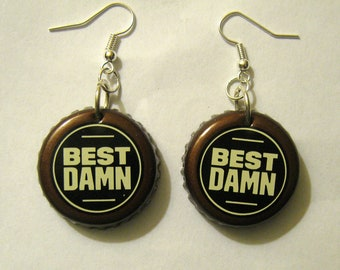 Recycled Bottle Cap Earrings Best Damn Root Beer