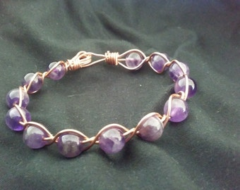 Amethyst and Copper Wire Wrapped Bracelet