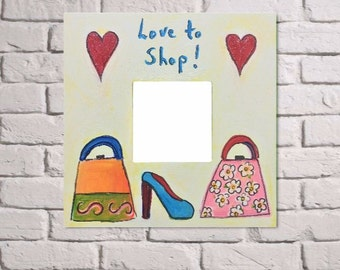 Love to shop mirror, girl's mirror painting, girl's heart mirror, shoe mirror , handbag mirror painting, girl's mirror frame, girl's mirror