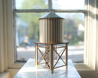 NYC water tower 2 - tabletop wooden water tower - gold aluminum roof and accents  - industrial cityscape decor - geometric