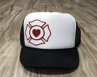 Fire Maltese Heart Trucker Hat Firefighter Wife Firefighter Girlfriend Fire Support Women's Trucker Hat Glitter Firefighter Trucker Hats