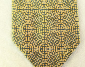 Vintage 50s San Milo Yellow Blue Gray Abstract Print Tie