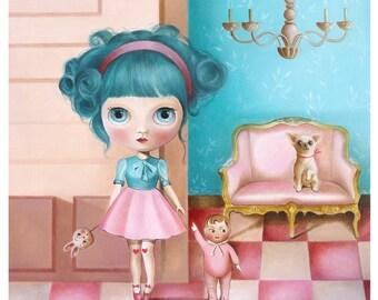 Kawaii Girl portrait, low brow, magical art, big eyed, girl wall decor, kawaii princess art, blythe doll, pink turquoise room wall decor