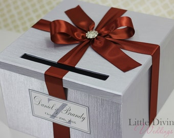 Wedding Card Box Silver Burnt Orange Custom Made in your Color Card Holder