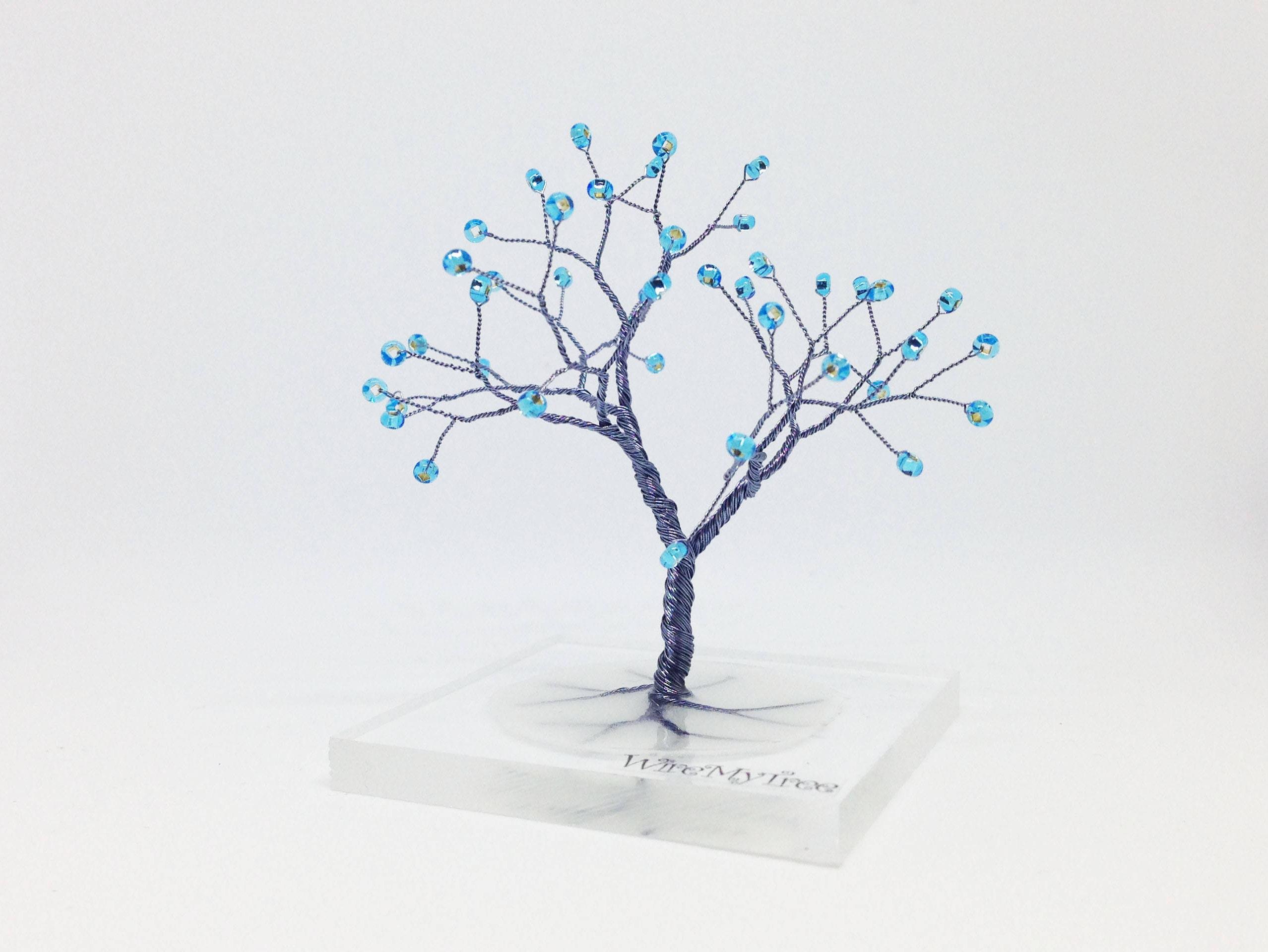 blau grau Draht Baum Statue Harz Plexiglas Baum skurril Draht
