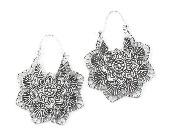 Large Silver Mandala Earrings, Tribal Earrings, Festival Earrings, Gypsy Earrings, Ethnic Earrings, Mehndi Earrings