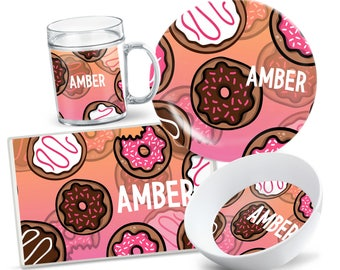 Donut Plate Set - Personalized Kids Plate - Kids Bowl - Custom Kids Tableware - Custom Placemat - Dinnerware for Kids