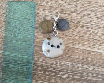 Metallic moon charm with two metallic dots - polymer clay