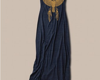 Womens BOHO Maxi Dress,  Egyptian Dress with Eagle Print, Vintage Clothing, Desert Style