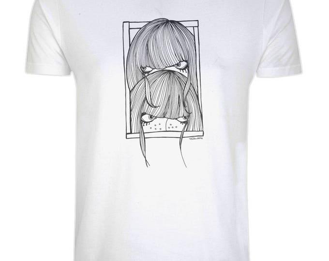 Seek Not Hide Shy Girls Original Line Drawing Art Illustrated Organic Cotton T-Shirt. Grey.