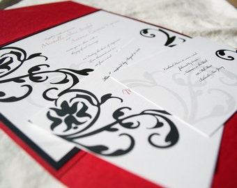 Wedding Invitation Modern Damask - Bold and Modern - Black White and Red Wedding Invite - Damask Design - Sample Wedding Invitations