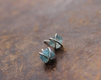 Raw apatite and sterling silver cross wrapped stud earrings, small post earrings, light blue apatite earrings, rustic, natural, everyday