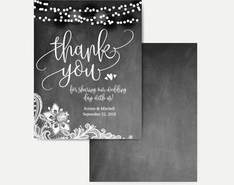 Chalk Lights and Lace Thank You Cards Bulk, Editable Thank You Card Template, DIY Thank You Card for Wedding, Thank You Card with Photo