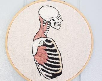 Skelton Anatomy Embroidery Wall Art
