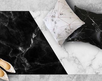 floor mat rug carpet p.v.c vinyl scandinavian marble geometric stylish room kitchen bathroom living minimalist modern - black and white