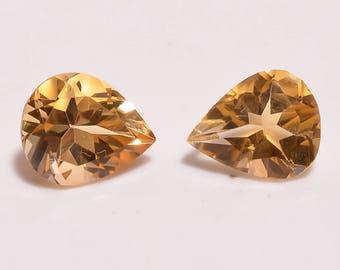 Natural Citrine 5.40cts Pear shape size 9x11x6 citrine faceted gemstone bright flashy gems.Loose Gemstone pair RA-19
