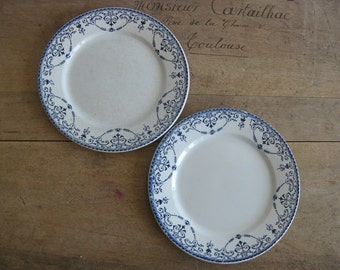 Antique French ironstone plates by H.B & Cie Balzac blue and white transferware