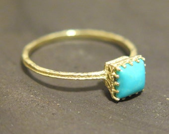 Gold Turquoise Ring - Solid Gold Ring - 14K Turquoise Ring - Turquoise Ring - December Birthstone - Turquoise Stone - Gentle Turquoise Ring