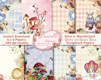 Alice in Wonderland Digital Paper Pack, Scrapbooking paper, White Rabbit, Tea Party, Mad Hatter, Journal Cards, Collage Sheet, Background
