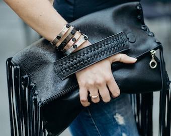 Handmade Black Leather Clutch, Fringe Clutch, Black Leather Fringe Clutch, Day Bag, Clutch Bag, Black Fringe Clutch Bag,