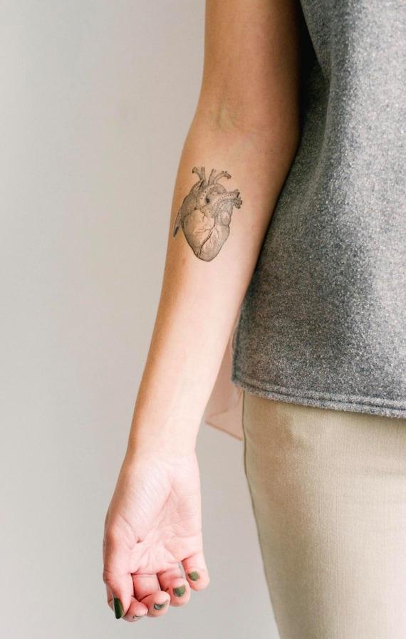 2 Anatomical Heart Temporary Tattoos SmashTat
