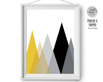 Scandinavian Print, Yellow & Black Art, Mustard Print, Mountains Print, Geometric Poster, Wall Decor, Minimal Print, 24x36 Art, Print Avenue