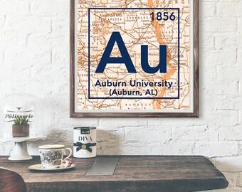 Auburn Tigers University Alabama Vintage Periodic Table Map UNFRAMED ART PRINT, Christmas birthday graduation gift ideas for her,home decor