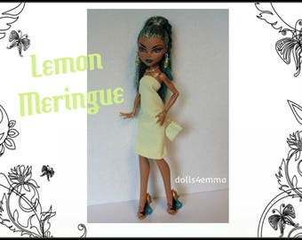 Monster High Nefera Doll Clothes LEMON MERINGUE - Dress, Purse and Jewelry Handmade Fashion - by dolls4emma
