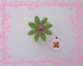 Ring green Fimo flower child