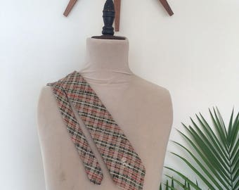 "60s Plaid Knit Tie, Vintage Midcentury Necktie, Countess Wara, 60"""