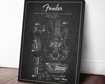 1961 Fender Bass Guitar Patent, Canvas Print, Wall Art, Guitar Print, Guitar Art, Home Decor, Gift Idea, MUIN22C
