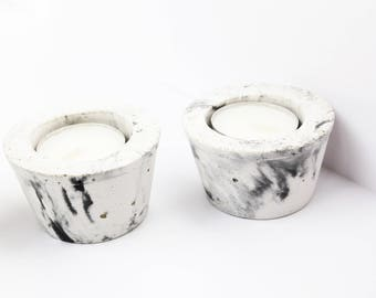 Hand Made Concrete Tea Light Holders - White concrete marble design (set of 3) - Home decor, wedding favours, concrete, candle, bomboniere