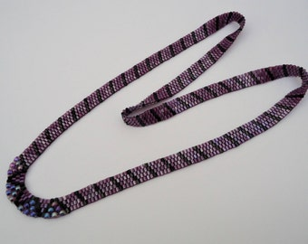Deep Violet and Black Long Peyote Ribbon Necklace