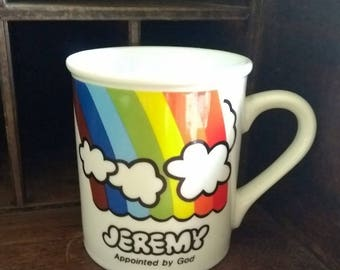 Vintage Enesco Coffee Mug Jeremy Appointed by God Rainbow Clouds Design Tea Cup