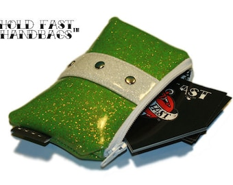 Lime Green Coin Pouch - Sparkle Vinyl Purse - Rockabilly Bag - Green Purse - MADE TO ORDER