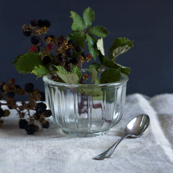 Ribbed French Pressed Glass Sugar Bowl + Silver Spoon