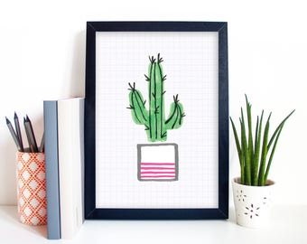 Cactus Plant Illustration Art Digital Print Sizes - A4/A5/5 x 7 - Home Decor