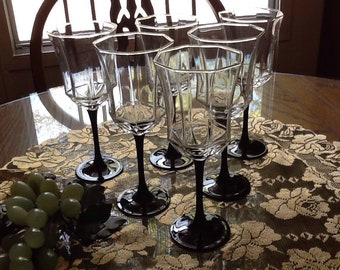 Crystal Black Stem Luminare Octime Wine/ Water glasses Set Of 6