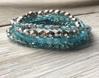 Blue Glass Bead Mix - Mixed Beads Strands -  6 strands of Czech glass beads ice blue aqua mix (ST21)