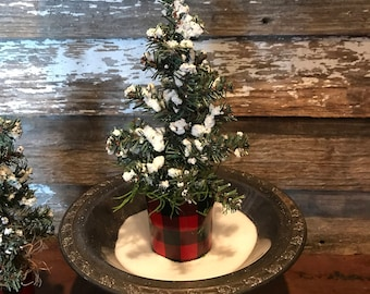 "9"" snowy christmas tree in a glass huggalo check plaid votive base"