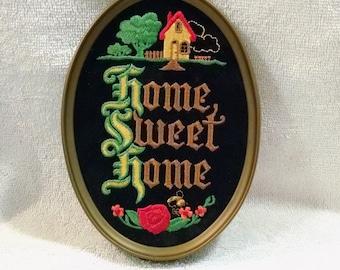 Black Velvet Home Sweet Home Wall Hanging