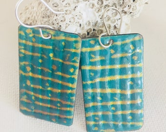 STATEMENT ENAMELED EARRINGS -Turquoise and Beige Rectangle Sterling Silver