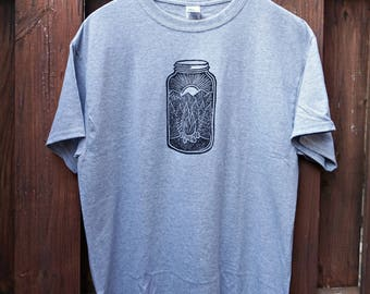 Bonfire Mason Jar | Linocut Hand Printed Tee