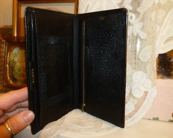 "Vintage Black Leather "" Rolfs "" Billfold / Wallet 1950's-1960's"