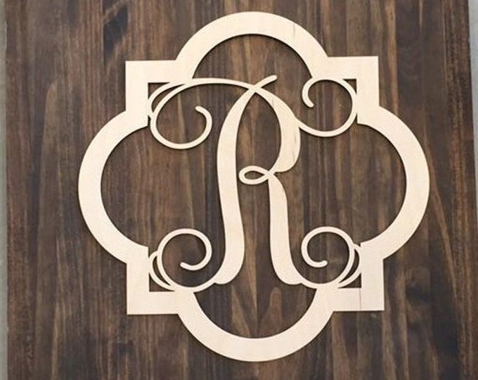 "12"" Wood Quarterfoil Single letter Curly Monogram Laser Cutout Shape Custom Initial Unfinished"
