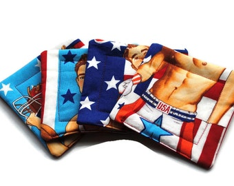 Quilted Coasters American Athletes Body Part  set of 4