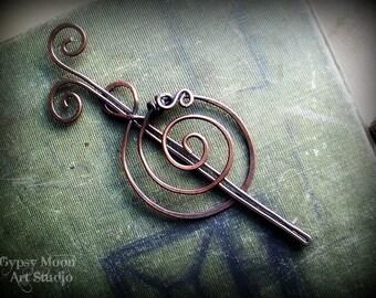 Spiral Copper Barrette or Shawl Pin