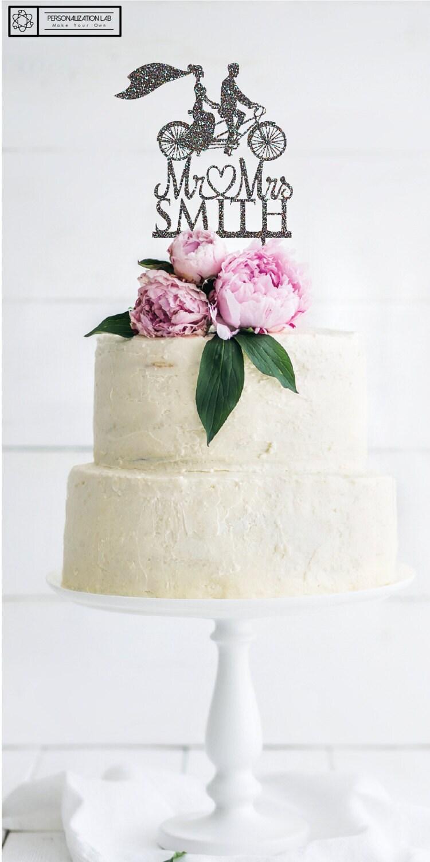 Personalized Retro Bicycle Bride Veil Wedding Cake Topper, Acrylic ...