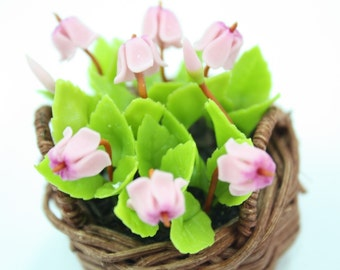 Polymer Clay Flowers Miniature Pink Cyclamen in Basket for English Cottage Garden Collection