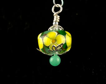 Yellow Glass Flower Pendant Necklace